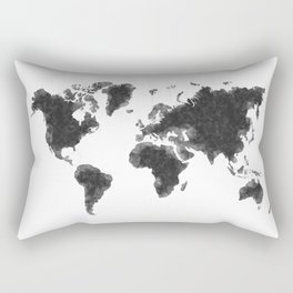World Map Black Sketch, Map Of The World, Wall Art Poster, Wall Decal, Earth Atlas, Geography Map Rectangular Pillow