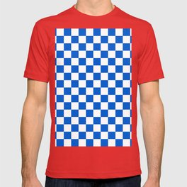 Gingham Brilliant Blue Checked Pattern T-shirt