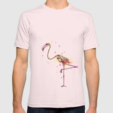 Flamingo Skeleton Watercolor X-LARGE Light Pink Mens Fitted Tee