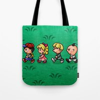 earthbound Tote Bags featuring Earthbound Guys by likelikes