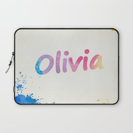 Olivia Rainbow Watercolor Splatters Laptop Sleeve