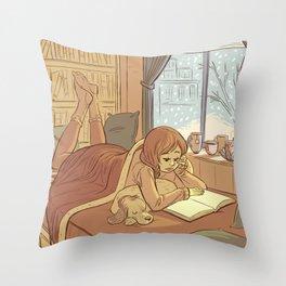Book Nook Throw Pillow