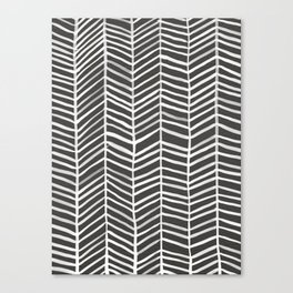Herringbone – Black & White Canvas Print