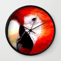 parrot Wall Clocks featuring Parrot by Crayle Vanest