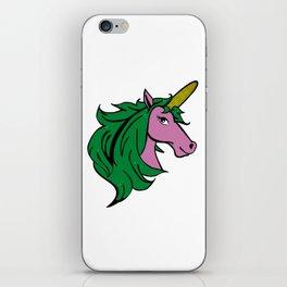 Cartoon Unicorn on the Cob. Cornstalk pun iPhone Skin