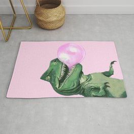 Bubble gum T-Rex in Pink Rug