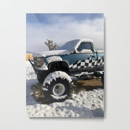 Monster Truck with Snow Metal Print