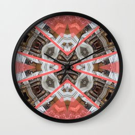 Living Coral Pantone Colour of the Year 2019 pattern decoration with neoclassical architecture Wall Clock