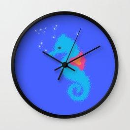 Blue Cartoon Seahorse Wall Clock
