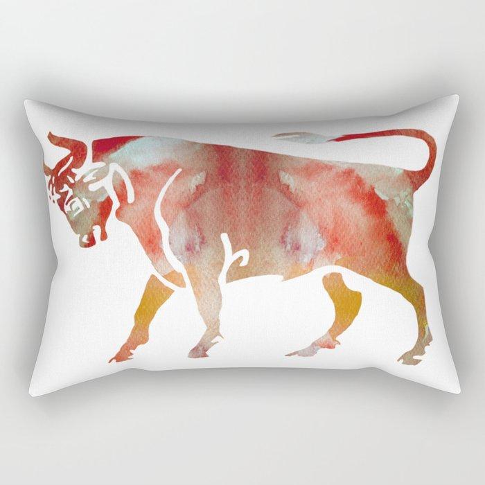 Pink Watercolor Taurus Rectangular Pillow