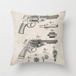 Western Revolver Patent - Antique Firearm Art - Antique Throw Pillow