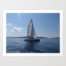 Catamaran In The Mediterranean Art Print