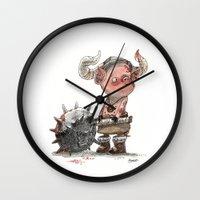 bouletcorp Wall Clocks featuring Cochon barbare by Bouletcorp