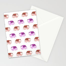 Pink and tan elephants Stationery Cards