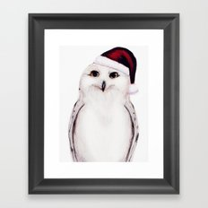 Snowy Christmas Owl  Framed Art Print