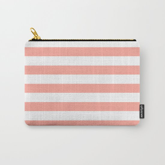Simply Striped in Salmon Pink and White Carry-All Pouch