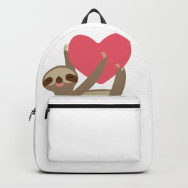 Valentines day card. Funny sloth with a red heart Backpack