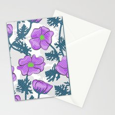 Flowers pink on white background. Stationery Cards