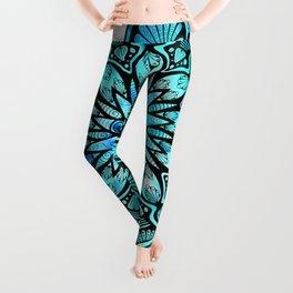 Psychedelic Mandala on black background Leggings