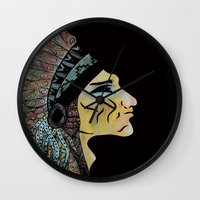 native Wall Clocks featuring Native by Red Dust