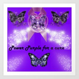 Power Purple For a Cure - Sparkles and Butterflies Art Print