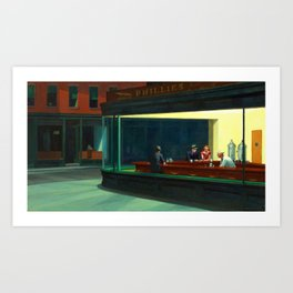 Nighthawks Painting Restored Edward Hopper Art Print