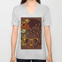 Afro Diva : Sophisticated Lady Retro Brown Unisex V-Neck