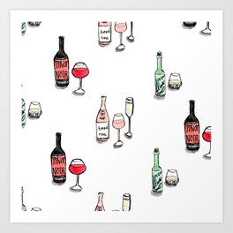 #DrinkWineDay Pattern Art Print