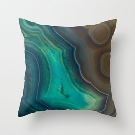 Lake Like Teal & Brown Agate Throw Pillow