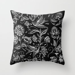 sparrows and swirls black Throw Pillow