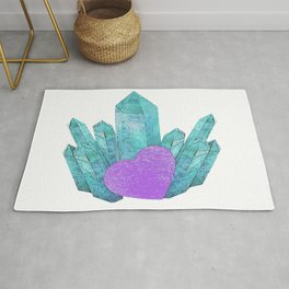 Crystals with a heart, natural, romantic Rug
