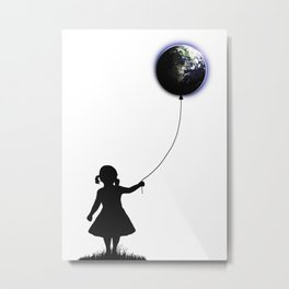 The Girl That Holds The World - White background Metal Print