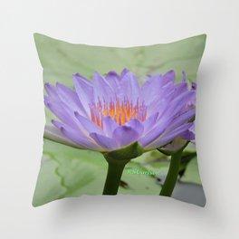 Blue Water Lilies in Hangzhou Throw Pillow