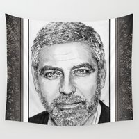 jem Wall Tapestries featuring George Clooney in 2009 by JMcCombie