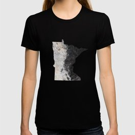 Minnesota Map Outline-North Shore Texture T-shirt