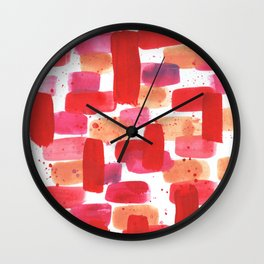 Red and Pink Abstract Watercolor Wall Clock