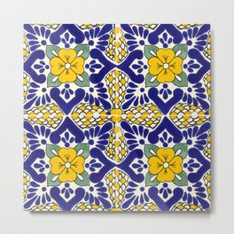 talavera mexican tile in blu and yellow Metal Print