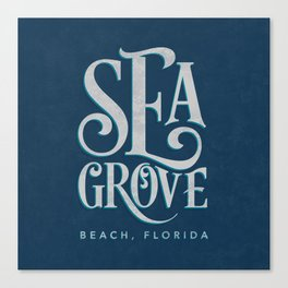 Seagrove Beach Typography (blue) Canvas Print