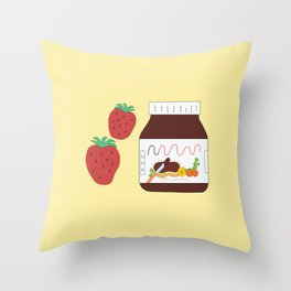 Nutella and Strawberries Throw Pillow