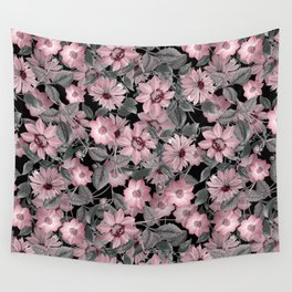 Nostalgic Floral Pattern On Black Wall Tapestry