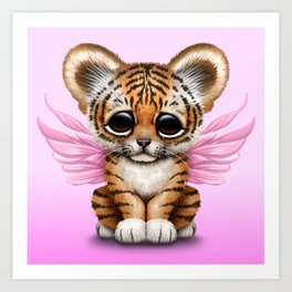 Cute Baby Tiger Cub with Fairy Wings on Pink Art Print