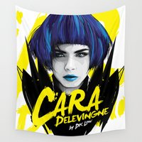 cara Wall Tapestries featuring Cara Delevingne by Dik Low