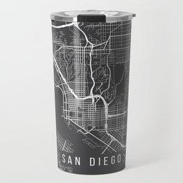 San Diego Map, California USA - Charcoal Portrait Travel Mug