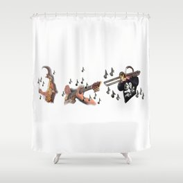 Trio, musicians abstract trombone, saxophone , guitar Shower Curtain