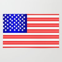 american flag Area & Throw Rugs featuring American Flag by Justbyjulie