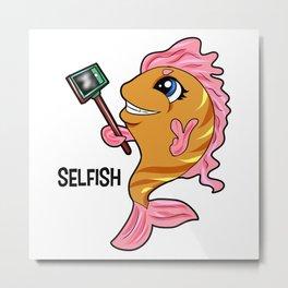 selfish fish selfie Stick present Clownfish gift Metal Print