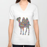 camel V-neck T-shirts featuring Camel  by Shanaabird