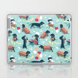Hot dogs and lemonade // aqua background navy dachshunds Laptop & iPad Skin