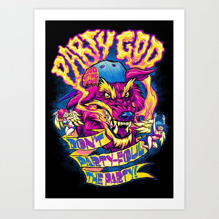 PARTY GOD (magenta) Art Print