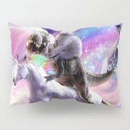 Laser Eyes Space Cat On Dinosaur Unicorn - Rainbow Pillow Sham